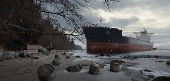 Σκάφος εμπορευματοκιβωτίων που προσαράσσουν στην παραλία διανυσματική απεικόνιση