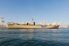 Σκάφος εμπορευματοκιβωτίων στο λιμάνι του Όουκλαντ Στοκ Φωτογραφίες