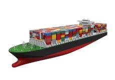 Σκάφος εμπορευματοκιβωτίων φορτίου που απομονώνεται Στοκ Εικόνες