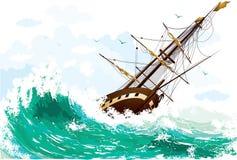 σκάφος θάλασσας διανυσματική απεικόνιση