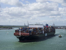 σκάφος λιμένων του Γντανσκ Πολωνία εμπορευματοκιβωτίων Στοκ φωτογραφίες με δικαίωμα ελεύθερης χρήσης