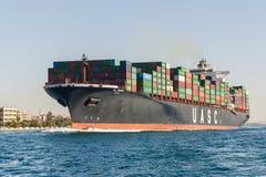 σκάφος λιμένων του Γντανσκ Πολωνία εμπορευματοκιβωτίων Στοκ εικόνα με δικαίωμα ελεύθερης χρήσης