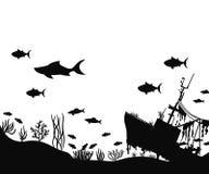 Σκάφος και άλγη στο βυθό τα ψάρια κολυμπούν κοντά στο διάνυσμα σκιαγραφιών κοραλλιών απεικόνιση αποθεμάτων