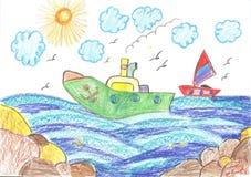 Σκάφος και γιοτ εν πλω Στοκ Φωτογραφίες