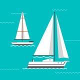 Σκάφος και διάνυσμα βαρκών διανυσματική απεικόνιση