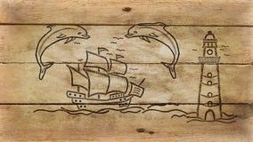 Σκάφος και φάρος στο παλαιό ξύλο στοκ φωτογραφία με δικαίωμα ελεύθερης χρήσης