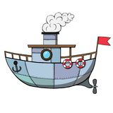 Σκάφος κινούμενων σχεδίων επίσης corel σύρετε το διάνυσμα απεικόνισης Στοκ Φωτογραφία