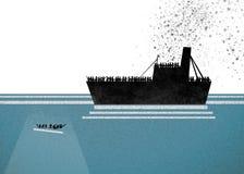 Σκάφος με τους πρόσφυγες στην απαίτηση της βοήθειας Θάλασσα με τους ανθρώπους στο νερό που ζητά τη βοήθεια απεικόνιση αποθεμάτων
