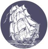 σκάφος πανιών εμβλημάτων διανυσματική απεικόνιση