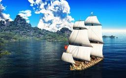 Σκάφος πειρατών και ενεργό ηφαίστειο στην τρισδιάστατη απεικόνιση Στοκ Εικόνα