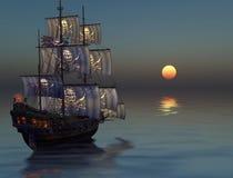 Σκάφος πειρατών που πλέει στο ηλιοβασίλεμα ελεύθερη απεικόνιση δικαιώματος