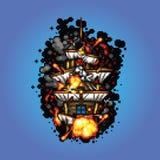 Σκάφος πειρατών στην απεικόνιση ύφους τέχνης εικονοκυττάρου πυρκαγιάς Στοκ Φωτογραφίες