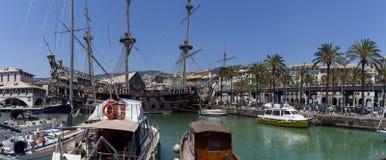 Σκάφος πειρατών του IL Galeone Ποσειδώνας στη Γένοβα, Ιταλία Στοκ Εικόνες