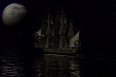 Σκάφος πειρατών, τρισδιάστατη απόδοση Στοκ Φωτογραφία
