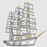 Σκάφος που γίνεται από τα δολάρια Στοκ Εικόνες