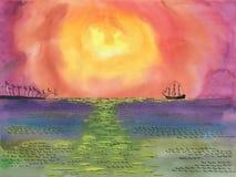 Σκάφος που πλέει στην ακτή με τους φοίνικες κάτω από τον ήλιο ελεύθερη απεικόνιση δικαιώματος