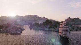 Σκάφος που πλέει κατά την εναέρια άποψη τραχιών θαλασσών σχετικά με το ηλιοβασίλεμα και το υπόβαθρο βουνών απεικόνιση αποθεμάτων