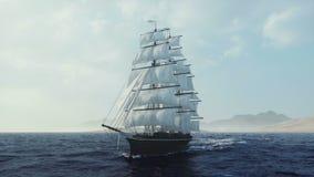 Σκάφος που πλέει στις τραχιές θάλασσες κοντά επάνω για το κανάλι χαρτογράφησης για το λογότυπο σημαιών διανυσματική απεικόνιση