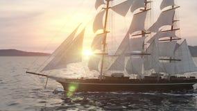 Σκάφος που πλέει στις τραχιές θάλασσες κοντά επάνω στο υπόβαθρο ηλιοβασιλέματος απόθεμα βίντεο