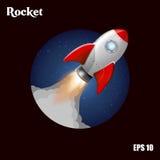 Σκάφος πυραύλων Διανυσματική απεικόνιση με τον τρισδιάστατο πετώντας πύραυλο Διαστημικό ταξίδι στο φεγγάρι Διαστημική έναρξη πυρα Στοκ Εικόνες
