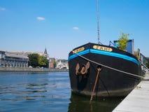 Σκάφος στην αποβάθρα σε Liège, Βέλγιο Στοκ Εικόνα