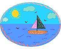 Σκάφος στην μπλε θάλασσα με seagulls και τα σύννεφα Στοκ εικόνα με δικαίωμα ελεύθερης χρήσης