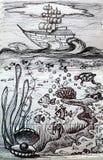 Σκάφος - συρμένη χέρι απεικόνιση και κάτω από το νερό διανυσματική απεικόνιση