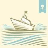 Σκάφος της γραμμής κρουαζιέρας εγγράφου πειρατών Στοκ Εικόνα