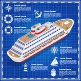 Σκάφος της γραμμής κρουαζιέρας σε ένα μπλε υπόβαθρο Στοκ Εικόνες