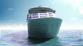 Σκάφος της γραμμής κρουαζιέρας σε μια μπλε θάλασσα διανυσματική απεικόνιση