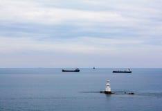 Σκάφος τοπίων στον ωκεανό Στοκ εικόνα με δικαίωμα ελεύθερης χρήσης