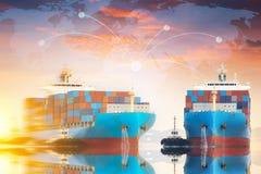 Σκάφος φορτίου φορτίου εμπορευματοκιβωτίων Στοκ Εικόνα