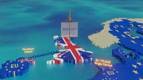 Σκάφος UK Brexit που πλέει μακριά - τρισδιάστατη ζωτικότητα απεικόνισης απόθεμα βίντεο
