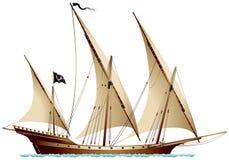 Σκάφος Xebec πειρατών ελεύθερη απεικόνιση δικαιώματος