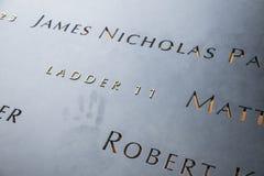Σκάλα 11 και πεσμένος, 9/11 μνημείο Στοκ Φωτογραφία