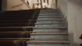 Σκάλα με τον τάπητα, παλαιός κλασσικός διάδρομος αιθουσών conert, τριαντάφυλλα στο πρώτο πλάνο απόθεμα βίντεο