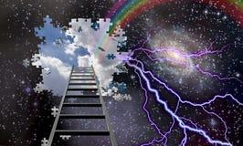Σκάλα στην τρύπα στο νυχτερινό ουρανό Στοκ Φωτογραφία