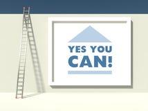 Σκάλα της επιτυχίας στον τοίχο με το σύνθημα απεικόνιση αποθεμάτων