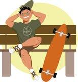 Σκέιτερ με ένα longboard Στοκ εικόνα με δικαίωμα ελεύθερης χρήσης