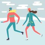 Σκέιτερ πάγου ανδρών και γυναικών κινούμενων σχεδίων απεικόνιση αποθεμάτων