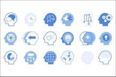 Σκέψεις μέσα στο επικεφαλής μεγάλο σύνολο, δημιουργική ανθρώπινη διανυσματική απεικόνιση μυαλού διανυσματική απεικόνιση