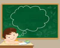 Σκέψη και πίνακας κιμωλίας αγοριών παιδιών ελεύθερη απεικόνιση δικαιώματος