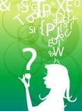 σκέψη σκιαγραφιών κοριτσιών Στοκ φωτογραφία με δικαίωμα ελεύθερης χρήσης