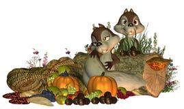 Σκίουροι ημέρας των ευχαριστιών Στοκ φωτογραφίες με δικαίωμα ελεύθερης χρήσης