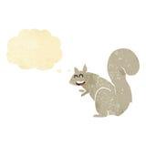 σκίουρος κινούμενων σχεδίων με τη σκεπτόμενη φυσαλίδα Στοκ Εικόνα