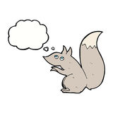 σκίουρος κινούμενων σχεδίων με τη σκεπτόμενη φυσαλίδα Στοκ εικόνα με δικαίωμα ελεύθερης χρήσης