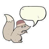 σκίουρος κινούμενων σχεδίων που φορά το καπέλο με τη λεκτική φυσαλίδα Στοκ Εικόνα