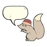 σκίουρος κινούμενων σχεδίων που φορά το καπέλο με τη λεκτική φυσαλίδα Στοκ εικόνα με δικαίωμα ελεύθερης χρήσης