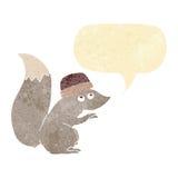 σκίουρος κινούμενων σχεδίων που φορά το καπέλο με τη λεκτική φυσαλίδα Στοκ Εικόνες