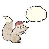 σκίουρος κινούμενων σχεδίων που φορά το καπέλο με τη σκεπτόμενη φυσαλίδα Στοκ Εικόνες